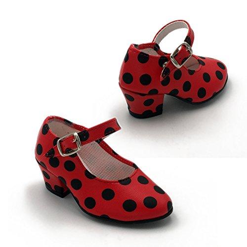 En Mujer Hecho Lunares Zapatos Flamenkitas A Para Espa Correa Flamenca Calzado Negros Rojo Danza De Color qwzAI