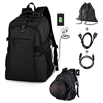 G1-Tech Basketball Backpack, Soccer Backpack, Football Backpack, Computer Backpack Business Laptop Backpack with USB Port, Headphone Pouch and Ball Holder with Basketball Net for Women/Men