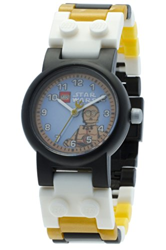 LEGO Star Wars C3PO Kids Buildable Watch with Link Bracelet and Minifigure | gold/white | plastic | 28mm case diameter| analogue quartz | boy girl | official