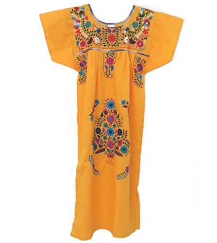 [Leos Mexican Imports Mexican Dress Puebla (XL, Canary)] (Cinco De Mayo Dress)