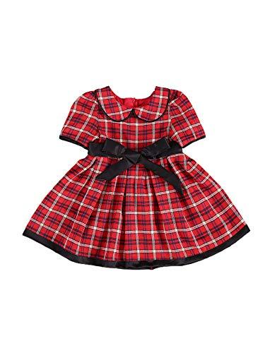 Carolilly Kerstjurk baby meisjes jurk met hoge taille prinsessenjurk met plaid