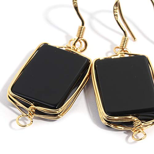 Natural Stone Wire Wrap Dangle Drop Earrings Gold Plated 925 Sterling Silver Hook/Black Onyx 14mm Square