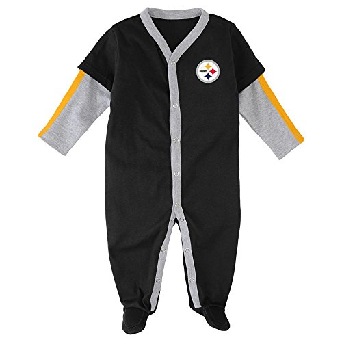 Pittsburgh Steelers Baby Clothes (Outerstuff Pittsburgh Steelers Baby Long Sleeve Jersey Coverall (6/9)