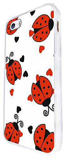 646 - Cool Fun Multi Ladybug Design iphone SE - 2016 Coque Fashion Trend Case Coque Protection Cover plastique et métal - Blanc