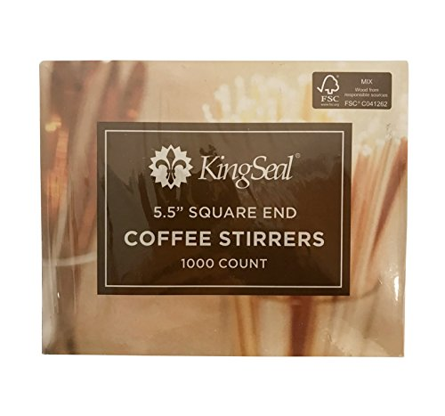FSC Certified Sustainably Sourced Birch Wood Coffee Stirrers, Stir Sticks, 5.5 Inch, Square End - 2 Packs of 1000 per Case (2,000 pcs) by KingSeal