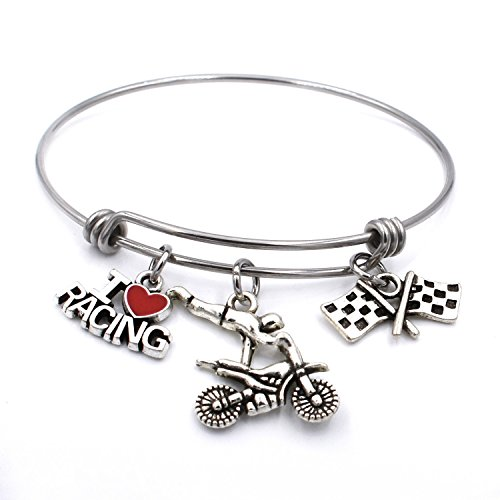 Motorcycle Race Bracelet Expandable Wire Bangle Motocross I Love Racing Charm Jewelry Gifts for Women
