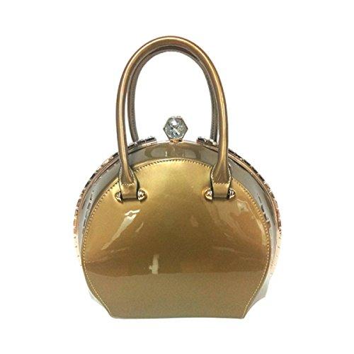 Europa Y Los Estados Unidos Moda Clip Bolsa Bolsa Redonda Pintura Brillante Bolsos De Cuero Diamante Forma Paquete Gold