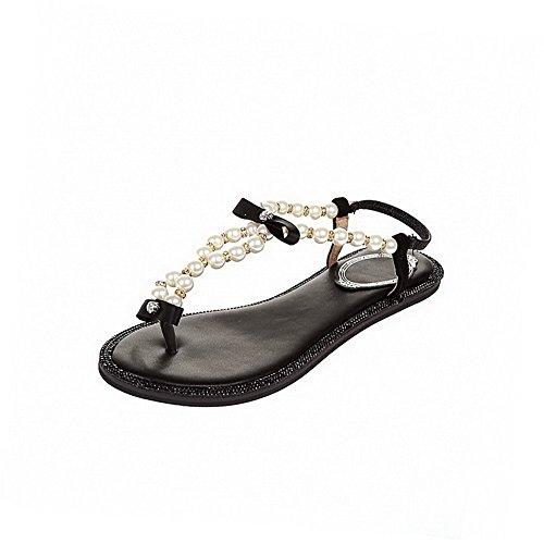 AllhqFashion Womens Sheepskin Solid Elastic Split Toe No-Heel Sandals Black bNtOw