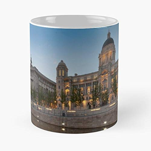 Liverpool Three Graces Port Of Cunard Building - White -coffee Mug- Unique Birthday Gift-the Best Gift For Holidays- 11 Oz.