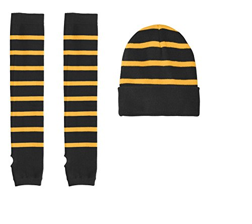 Striped Beanies & Arm Warmers (One Size Fits Most & S/M, Black/Gold Stripes) ()