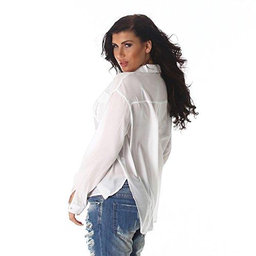 Donna VoyellesCamicia Tunica Basic Bianco Maniche Lunghe EHYeD9IbW2