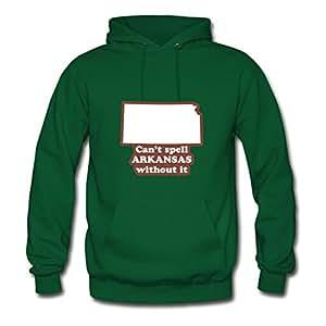 Women Kansas - Can't Spell Arkansas Without It Print Green Styling Deepheather X-large Hoodies