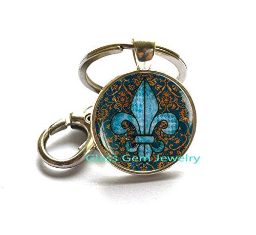 Fleur de lis Key Ring, fleur de lis Keychain, fleur de lis jewelry, heraldry jewelry royal heraldic - 12147 Lis De Fleur