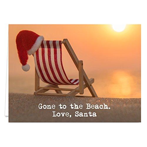 Santa at the Beach Holiday Card Pack - Set of 25 cards - 1 design, versed inside with envelopes (Santa Holiday Card)