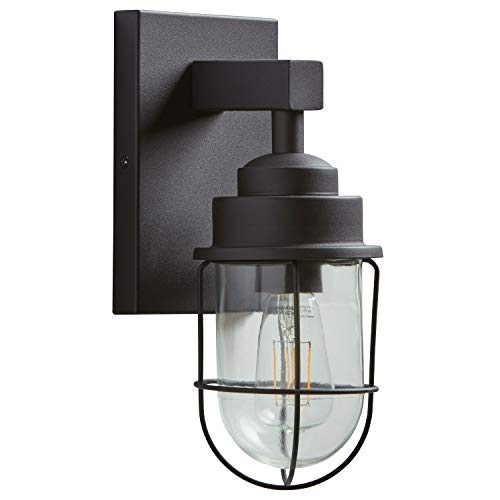 Stone & Beam Jordan Industrial Farmhouse Wall Sconce Fixture With Light Bulb - 4.75 x 5.5 x 11 Inches, Black, For Indoor Outdoor Use