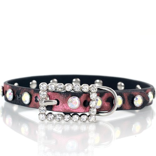 Fashion Crystal Embellished Leopard Print Animal Dog Collar Pink (Large)