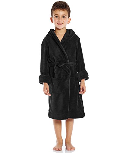 Leveret Kids Fleece Sleep Robe Black Size 8 Years -