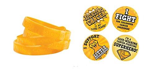 12 Gold Childhood Cancer Awareness Bracelets + Free Childhood Cancer Superhero Button