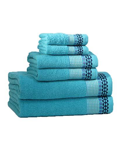 RAAF TEXTIL Juego de Toallas de baño 6 Piezas (Azul Petroleo, 2-100x150