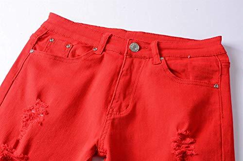 Fit Pantaloni Uomo Vita Strappati A Jeans Dritti Elasticizzati Slim Rosso Moda Casual Media Da Moderna Denim Alla rqgtr
