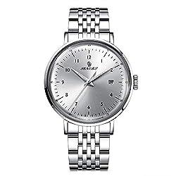 Stainless Steel Mechanical Wrist Watch for Men, SENORS Auto Date Waterproof Man's Watches 43mm Diameter