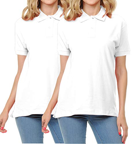 FRESH TEE Women's Adult Unisex 100% Cotton Classic Fit Polo Shirt Short Sleeve for Daily Work School Uniform (Medium, 2pk ()