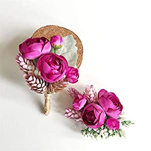 Lovgrace Corsage Bridal Lifelike Wrist Corsage and Boutonniere Girl Wedding Prom Groomsman Bridesmaid Artificial Silk Flowers Marriage Wedding Accessories 2pcs. 41