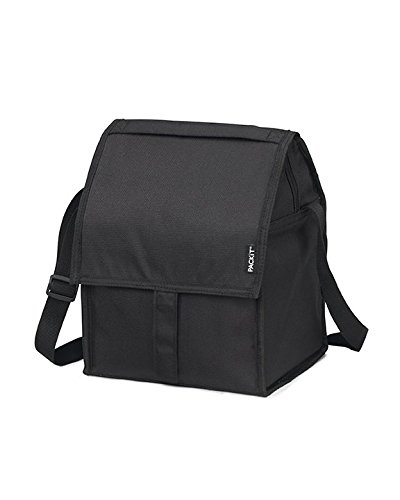 PackIt Freezable Deluxe Large Lunch Bag with Shoulder Strap, Black (Cold Box That Stays Lunch)