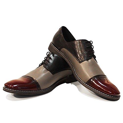 PeppeShoes Modello Fredo - Handmade Italiano da Uomo in Pelle Grigio Scarpe da Sera - Vacchetta Pelle Morbido - Allacciare