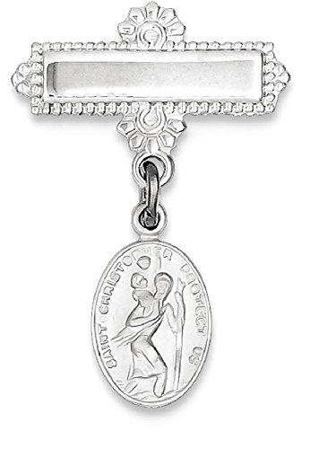 Saint Christopher Medal Pin (ICE CARATS 925 Sterling Silver Saint Christopher Medal Pendant Charm Necklace Pin Military Religious Patron St Christoppin Fine Jewelry Gift Set For Women Heart)
