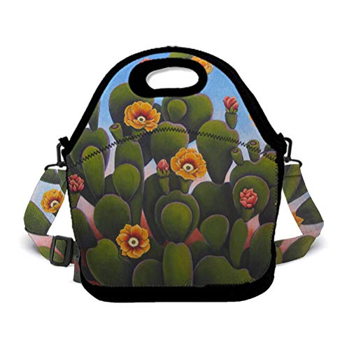 POP MKYTH Insulated Lunch Box - Wilder California Colorful Cactus - Water-Resistant Lunch Bag with 3D Shoulder Strap for School/Picnic/Camping, for Men Women Boys Girls Kids -