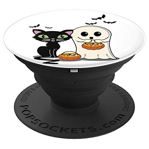Halloween Cat And Ghost Cute Trick Or Treaters - PopSockets Grip and Stand for Phones and Tablets]()