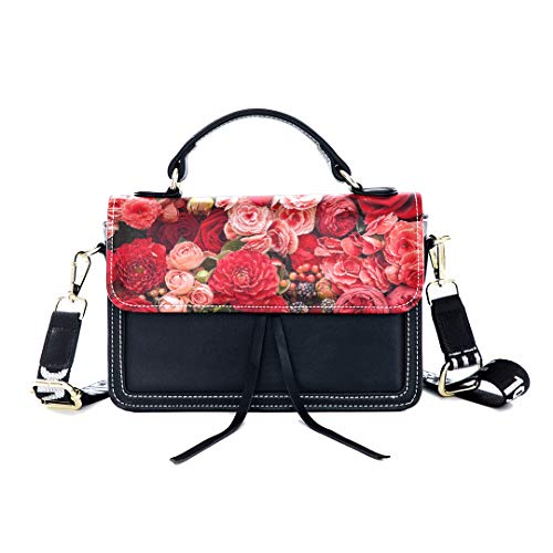 (Fashion Unique Handbag Red Spring Romantic Sweet Fragrant Flower Print Shoulder Bag Top Handle Tote Flap Over Satchel Purses Crossbody Bags Messenger Bags For Women Ladies)