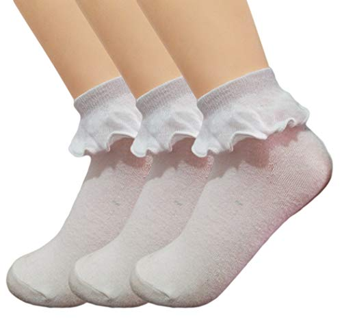 Trim Woman Ruffle (Qunson Women's Cotton Ruffle Frilly Trim Ankle Socks Pack of 3)