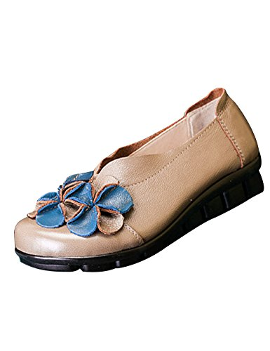 Zoulee Womens Round Toe Leather Floral Flats Shoes Mother Shoes Camel