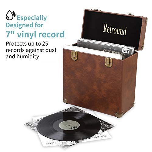 - Retround Vintage Retro Vinyl Leather Record Storage Carrying Case for 25+ Records (Dust/Scratch Free)-7Inch (Brown)