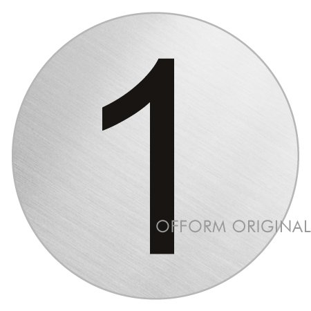 Door Number I Stainless Steel I Self-adhesive I '1' I SIZE: Ø 2.95 inch I no.39071