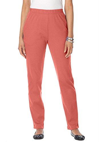 Roamans Women's Plus Size Classic Soft Knit Pants (Dusty Coral,4X)