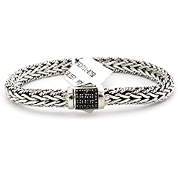 "Sterling Silver Black Sapphire Textured Woven Bracelet, 7.5"", 8.25"""