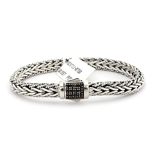 Solid Sterling Silver Rhodium Plated Black Sapphire Textured Woven Bracelet, 7.5'' by Phillip Gavriel