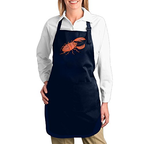 Shrimp Costume Diy (Dogquxio Cartoon Wild Shrimp Kitchen Helper Professional Bib Apron With 2 Pockets For Women Men Adults Navy)