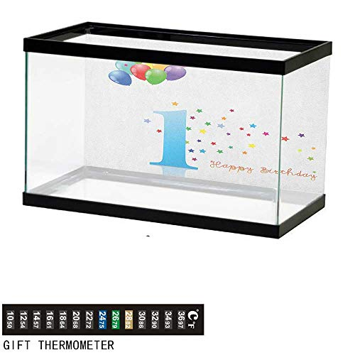 Jinguizi 1st BirthdayFish Tank BackdropKids Party Theme One with Abstract and Colorful Stars and Balloons Artwork30 L X 18