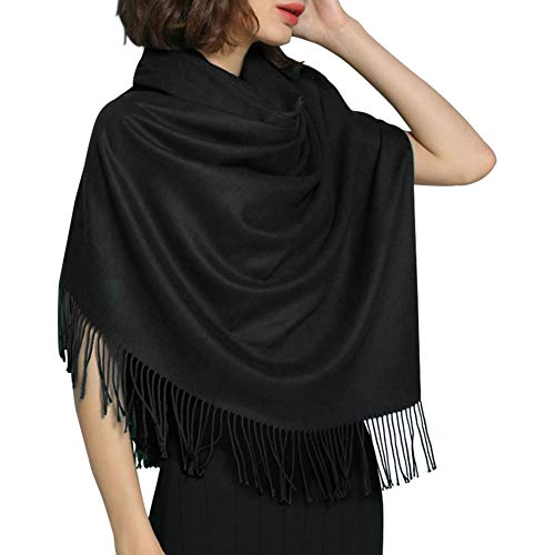 Women's Large Scarf Shawl Wrap- FURTALK Wedding Evening Dress Blanket Scarves In Solid Color Cashmere Feel Bridal Gift (Black)