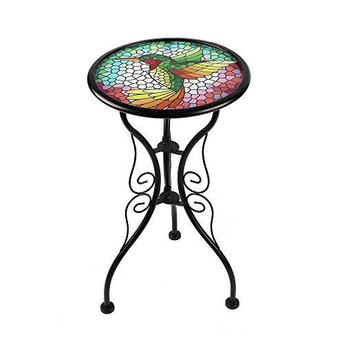 Liffy Colibri Mesa auxiliar al aire libre redonda vidrio pintado escritorio para jardin, comedor