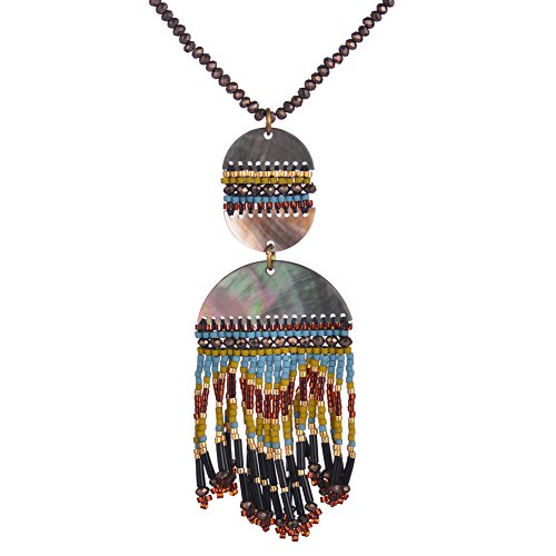 BeadChica Handmade Boho Pattern Long Necklace for Women Tassel Beaded Jewelry (Color 4)