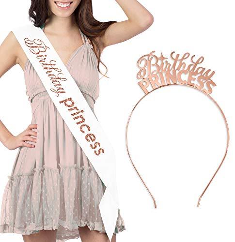 Rose Gold Birthday Princess Sash & Tiara Headband - Premium Birthday Decorations & Supplies - White GSet(Bdy Prnc RG) Wht