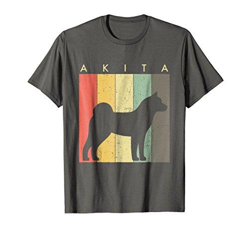 Mens Akita Tshirt For Dog Lovers - Retro Vintage Style 2XL Asphalt