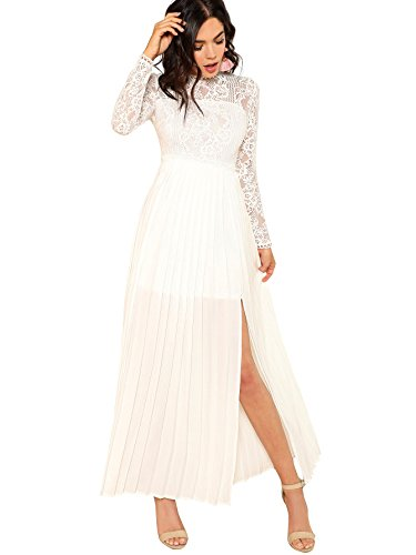 Floerns Women's Long Sleeve Lace Chiffon Maxi Formal Evening Dress White L