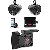 MTX Polaris RZR Remote Control Bluetooth Receiver All Weather Kit w Custom Amplified Subwoofer Enclosure, Roll Bar Speakers & Amplifier