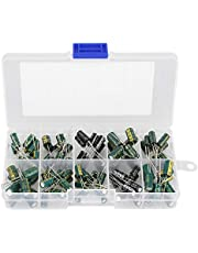 Electrolytic Capacitor, 100pcs 10 Values 10V-63V 10uf-470uf DIY High Grade Audio Capacitor Assorted Kit Electronics Component Assortment Electronic Components
